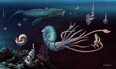 Cretaceous Marine Animals Poster by Richard Bizley