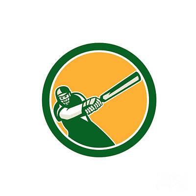 Cricket Player Batsman Batting Circle Retro Poster by Aloysius Patrimonio