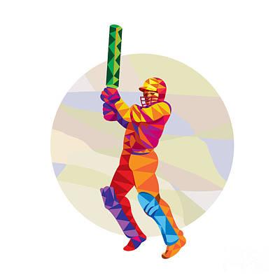 Cricket Player Batsman Batting Low Polygon Poster by Aloysius Patrimonio