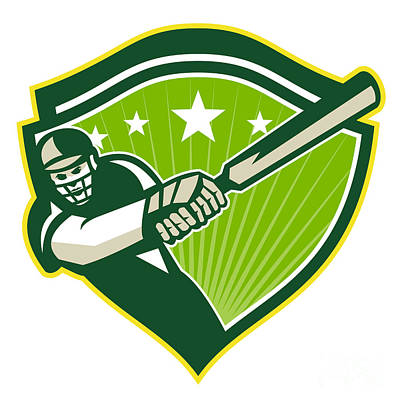 Cricket Player Batsman Star Crest Retro Poster by Aloysius Patrimonio