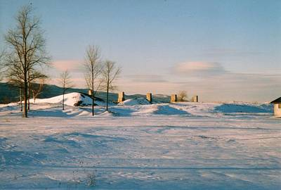 Crown Point Chimneys With Snow Poster by David Fiske