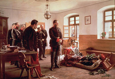 Crown Prince Frederick By The Corpse Of General Douay At The Battle Of Wissembourg, 1870 Poster by Anton Alexander von Werner