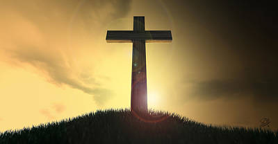 Crucifix On A Hill At Dawn Poster by Allan Swart
