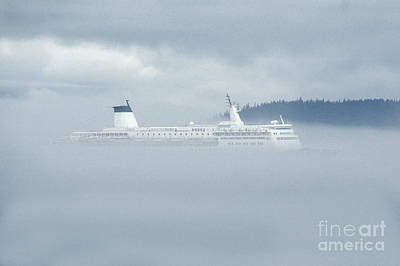 Cruise Ship In Fog Poster by Ron Sanford