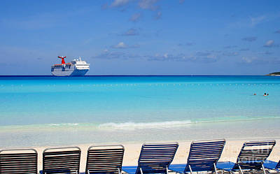 Cruise Ship Off Grand Turk Poster by Heidi Hermes