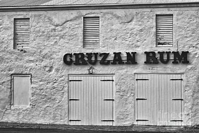 Cruzan Rum Building In Black And White Poster by Iris Richardson