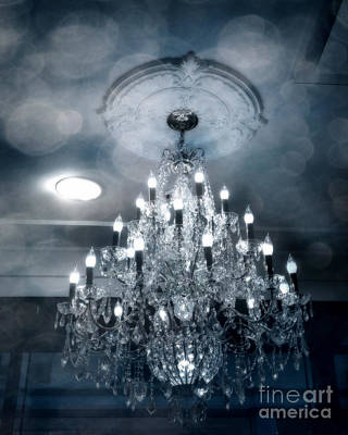 Crystal Chandelier Photo - Sparkling Twinkling Lights Elegant Romantic Blue Chandelier Photograph Poster by Kathy Fornal