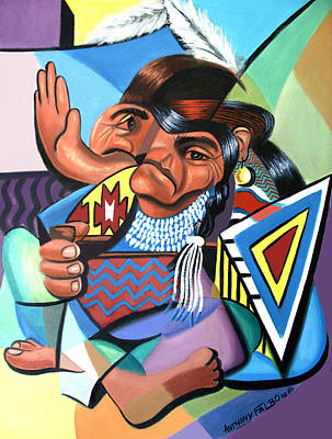 Cubist Indian  Poster by Anthony Falbo