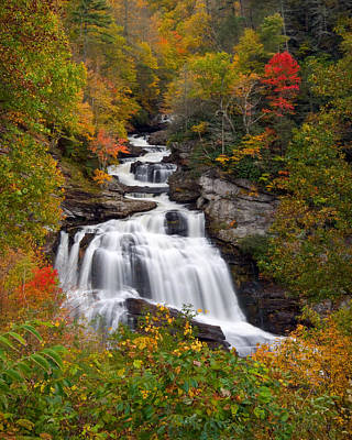 Cullasaja Falls - Wnc Waterfall In Autumn Poster by Dave Allen