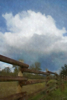 Cumulus Cloud And Fence Poster by Mick Anderson