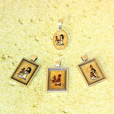 Custom Parent's Amulet Egyptian Papyrus Necklace Poster by Pet Serrano