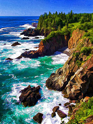 Cutler Coast White Water Poster by Bill Caldwell -        ABeautifulSky Photography