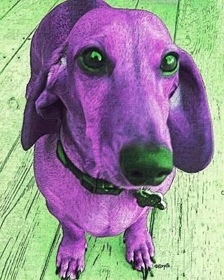 Dachshund - Purple People Greeter Poster by Rebecca Korpita