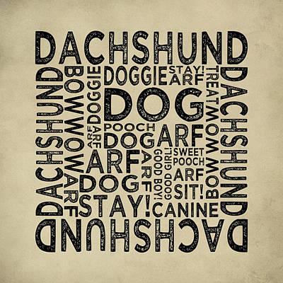 Dachshund Typography Poster by Flo Karp
