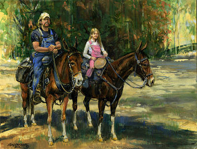 Dad And Daughter On Gatied Mules Poster by Don  Langeneckert