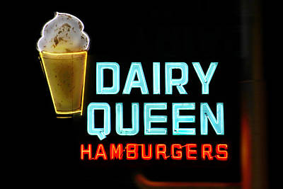 Dairy Queen Neon Sign - Route 66 Poster by Mike McGlothlen