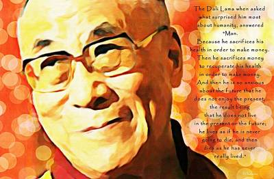 Dali Lama And Man Poster by Barbara Chichester