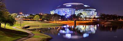 Dallas Cowboys Stadium At Night Att Arlington Texas Panoramic Photo Poster by Jon Holiday