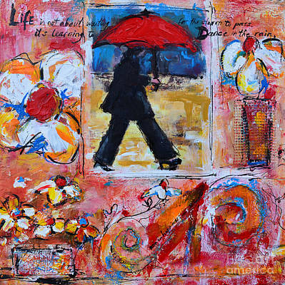 Dance In The Rain Under A Red Umbrella Poster by Patricia Awapara
