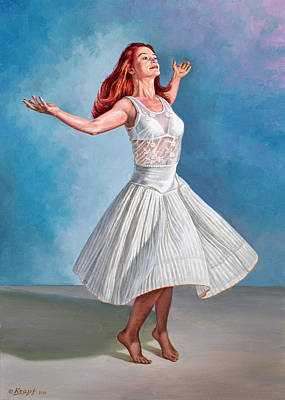 Dancer In White Poster by Paul Krapf