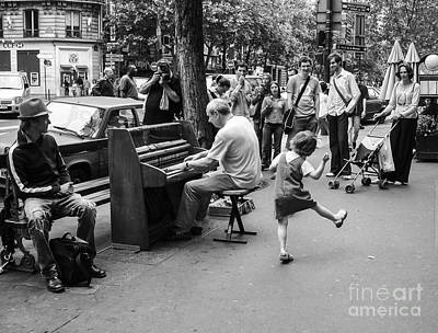 Black And White Paris Poster featuring the photograph Dancing On A Paris Street by Diane Diederich