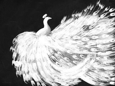Dancing Peacock Black Poster by Anita Lewis