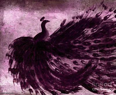Dancing Peacock Plum Poster by Anita Lewis