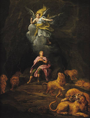 Daniel In The Den Of Lions Oil On Canvas Poster by Francois Verdier
