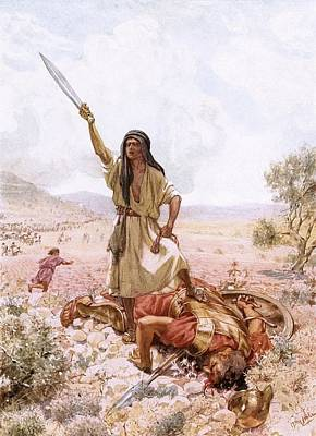 David And Goliath Poster by William Brassey Hole
