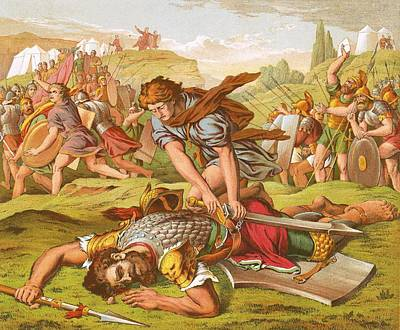 David Slaying The Giant Goliath Poster by English School
