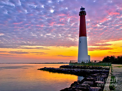 Dawn At Barnegat Lighthouse Poster by Mark Miller