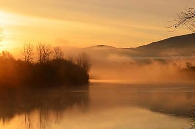 Dawn On The Kootenai River Poster by Annie Pflueger