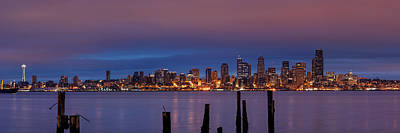 Dawn Panorama Of Downtown Seattle From Alki Beach Poster by Silvio Ligutti