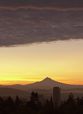 Dawn Sky Over Portland And Mt Poster by William Sutton