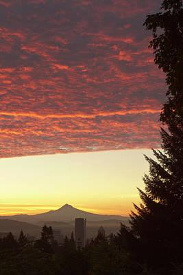 Dawn Sky Over Portland, Oregon Poster by William Sutton