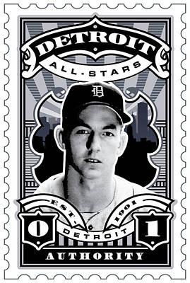 Dcla Al Kaline Detroit All-stars Finest Stamp Art Poster by David Cook Los Angeles