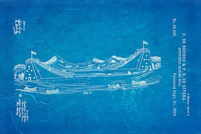 De Bodisco Artificial Sliding Hill Patent Art 2 1869 Blueprint Poster by Ian Monk