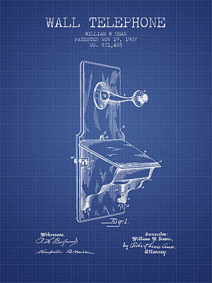Dean Wall Telephone Patent From 1907 - Blueprint Poster by Aged Pixel