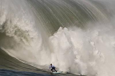 Death-defying Ride On A Surfboard Poster by Scott Lenhart