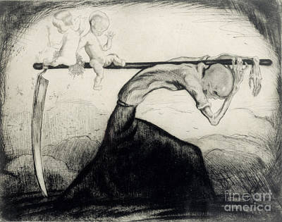 Death With Two Children Carried On His Scythe Poster by Michel Fingesten