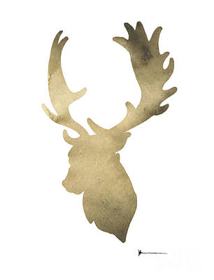 Deer Antlers Original Watercolor Art Print Poster by Joanna Szmerdt