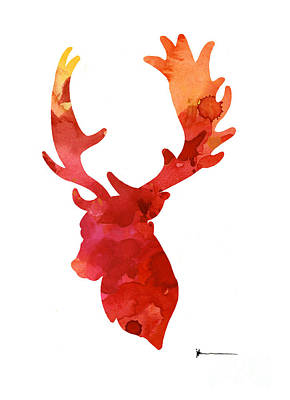 Deer Antlers Silhouette Art Print Watercolor Painting Poster by Joanna Szmerdt