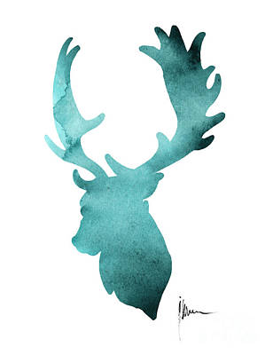 Deer Head Silhouette Painting Watercolor Art Print Poster by Joanna Szmerdt