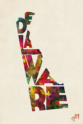 Delaware Typographic Watercolor Map Poster by Ayse Deniz