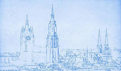 Delft Netherlands Blueprint Poster by Celestial Images