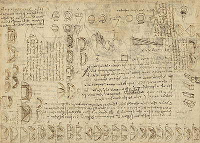Delian Problem Or Doubling Cube Equivalence Among Various Parts Of Circle From Atlantic Codex  Poster by Leonardo Da Vinci