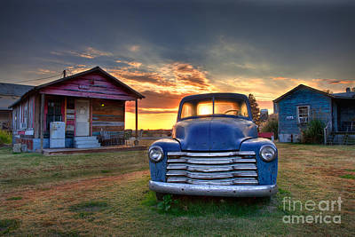 Delta Blue - Old Blue Chevy Truck In The Mississippi Delta Poster by T Lowry Wilson