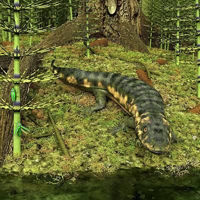 Dendrerpeton Prehistoric Amphibian Poster by Walter Myers