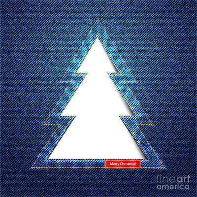 Denim Tree Cutout Poster by Jane Rix