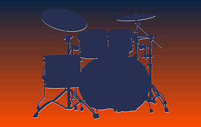 Denver Broncos Drum Set Poster by Joe Hamilton